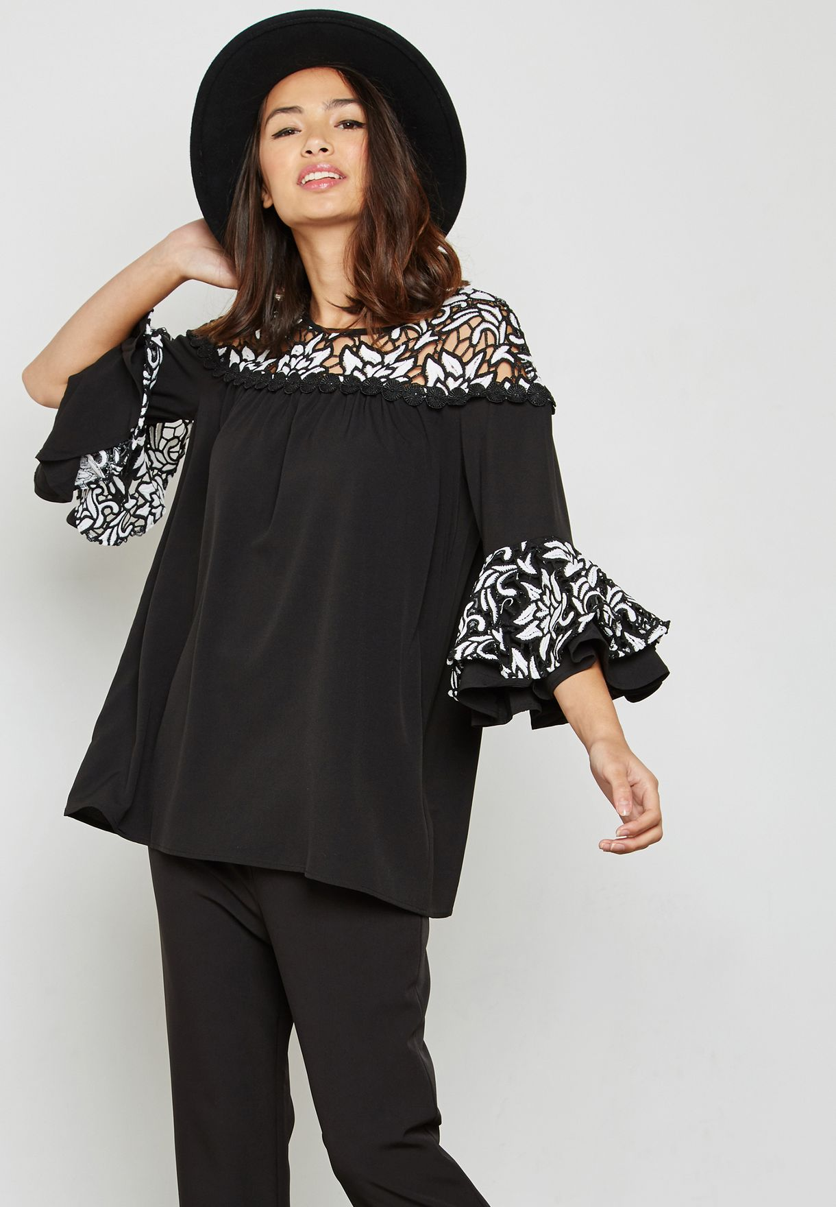 8c1189ff07a8fe Shop Jovonna London black Lace Bell Sleeve Top Eros for Women in UAE ...