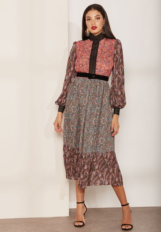 Ditsy Paisley Print Dress
