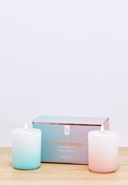 Blue Pink Ombre Twin Set Candles