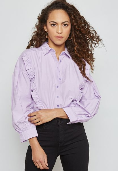 Puffed Sleeve Ruffle Paneled Shirt