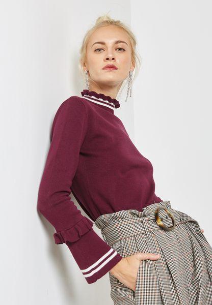 Ruffle Striped Sweater