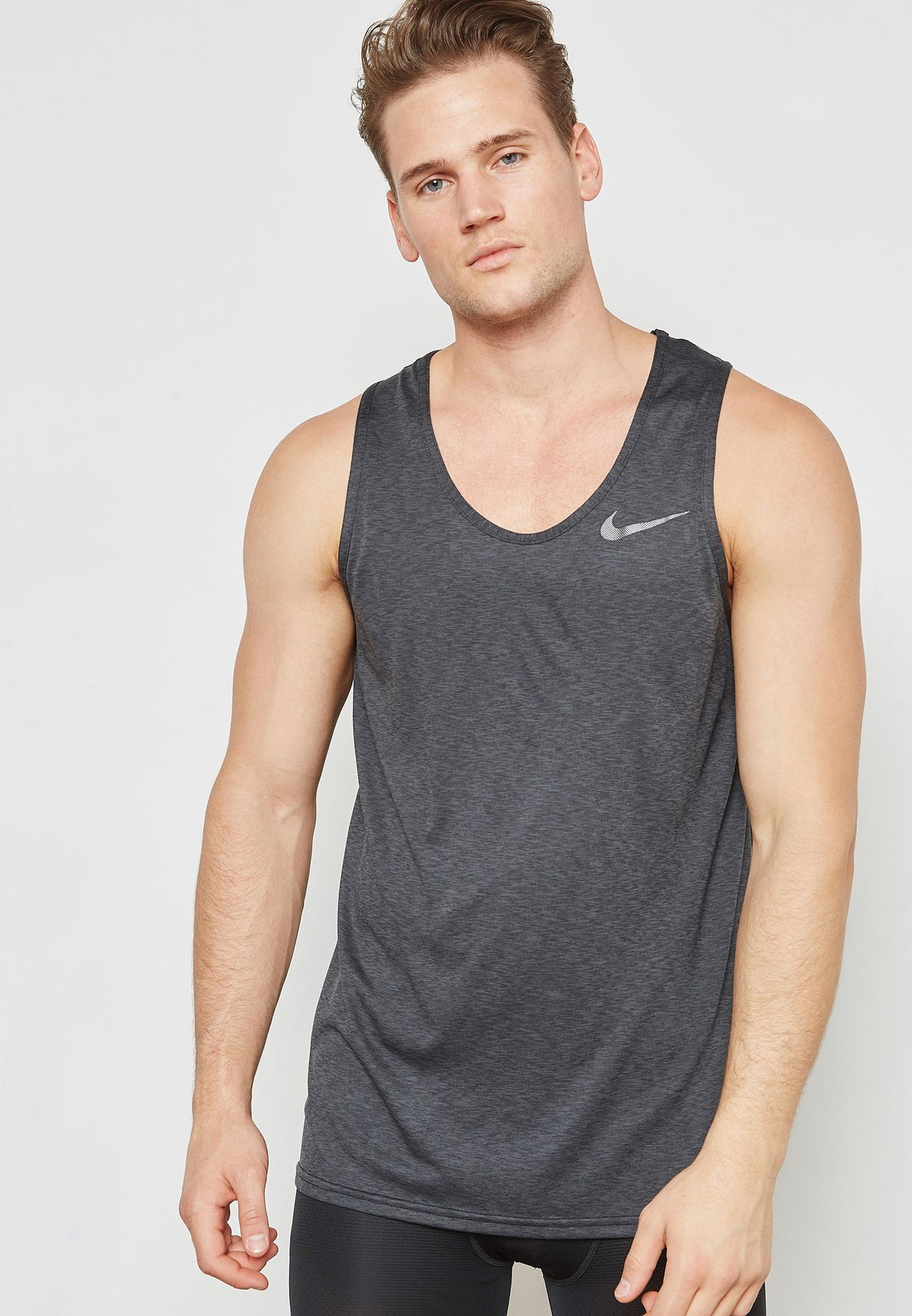 05f97ebe3e1e Shop Nike grey Dri-FIT Breathe Vest 832825-060 for Men in UAE ...
