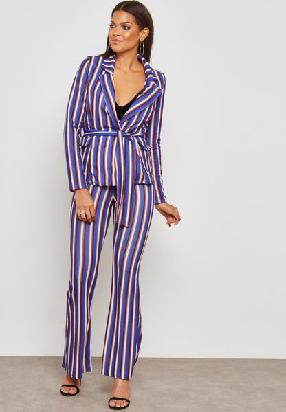 Striped Self Tie Blazer Pants Set