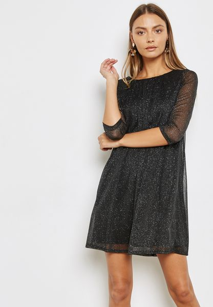 Sheer Sleeve Sjimmer Dress