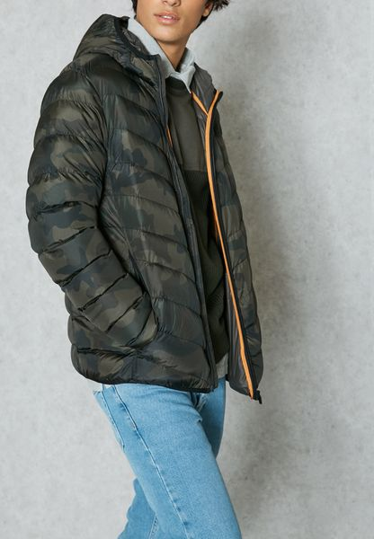 Camo Hooded Padded Jacket
