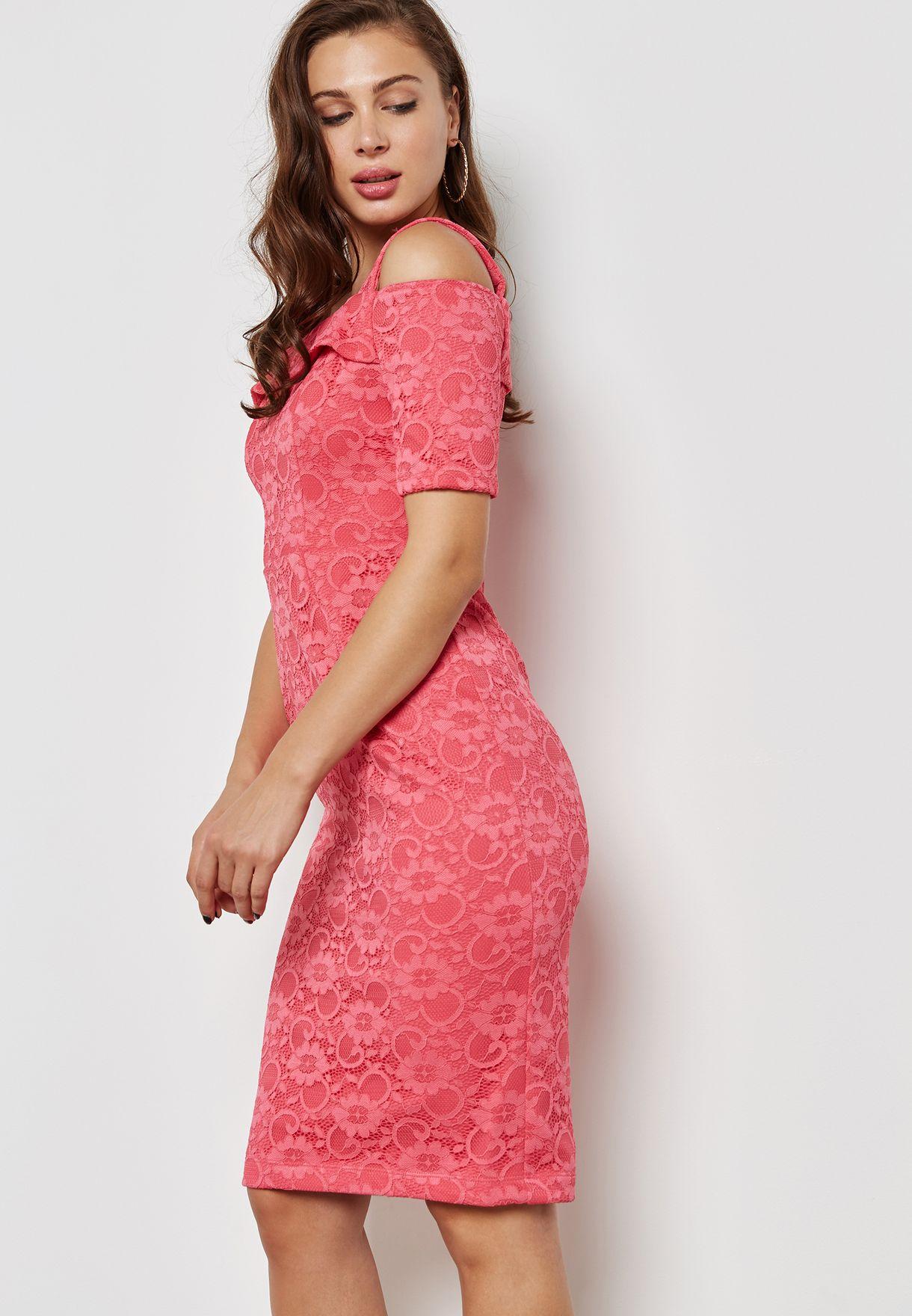 32cce58b2079 Shop Dorothy Perkins pink Lace Cold Shoulder Pencil Dress 07354414 ...