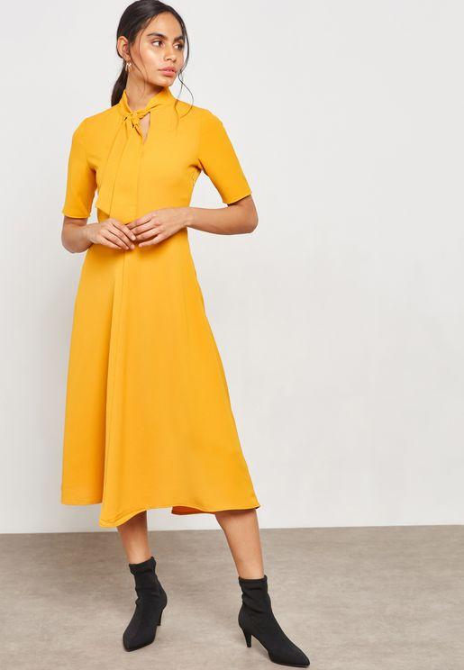 Tie Neck Swing Midi Dress