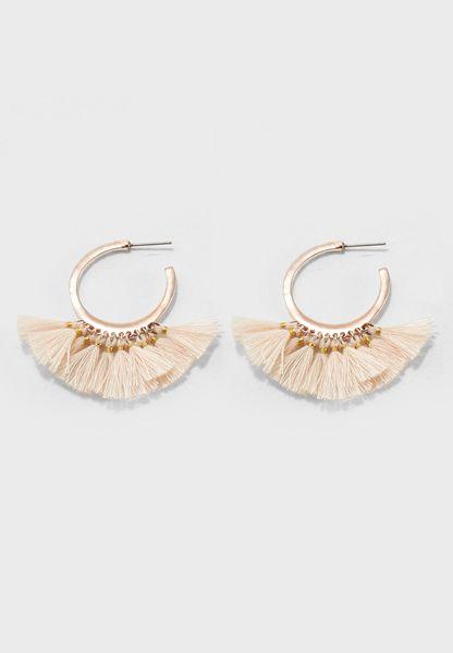 Mini Tassel Hoop Earrings