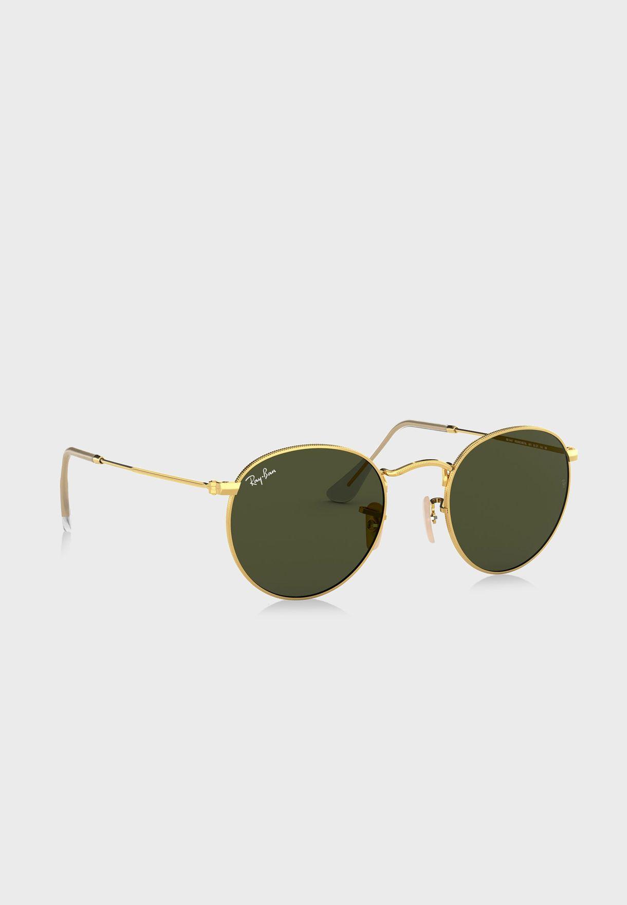 0RB3447 Round Metal Sunglasses