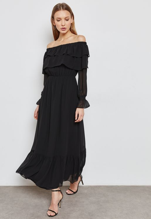 Tiered Ruffle Bardot Maxi Dress