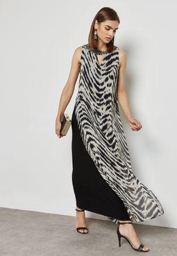 Animal Print Split Side Overlay Maxi Dress