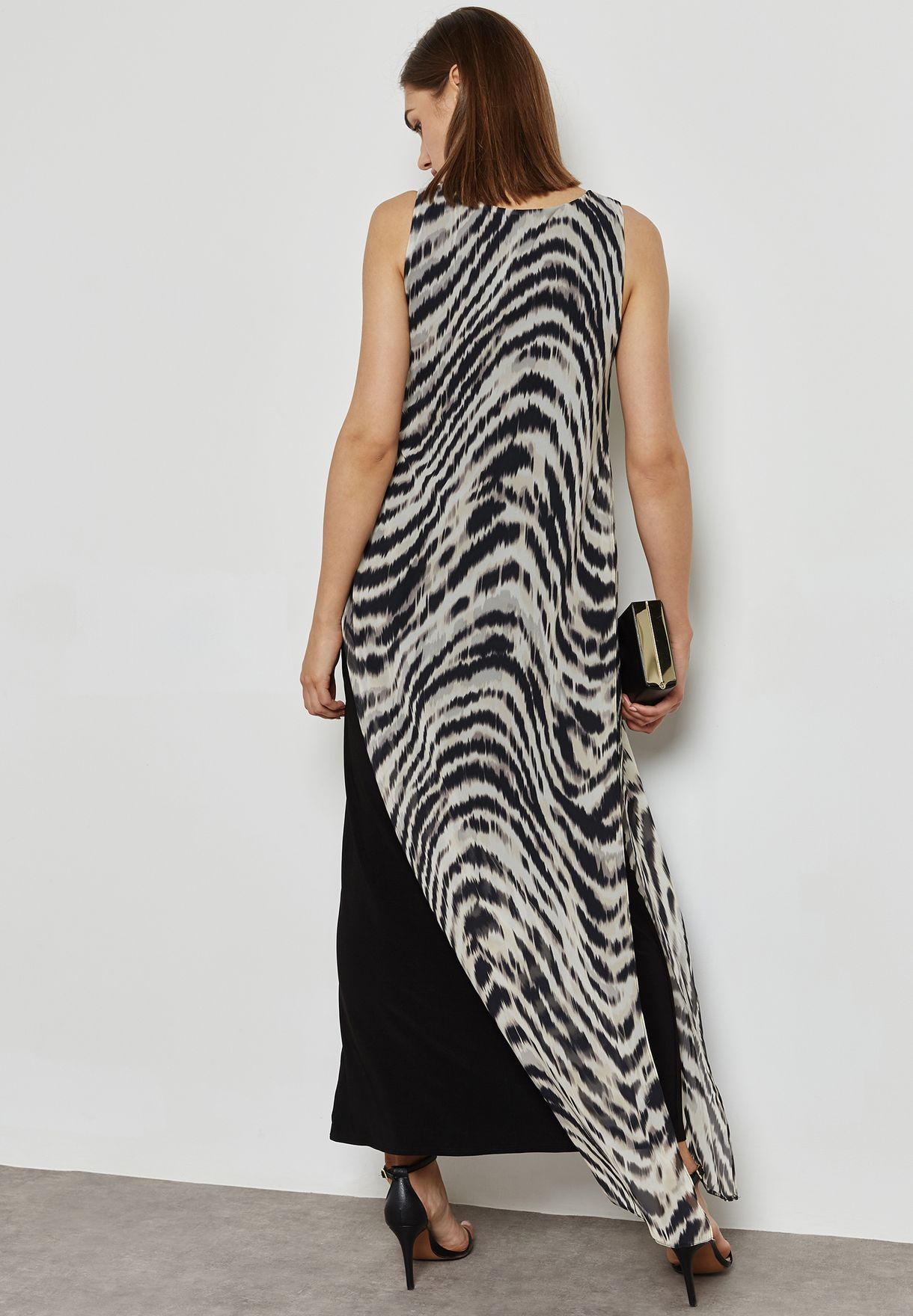 Animal Print Split Side Overlay Maxi Dress