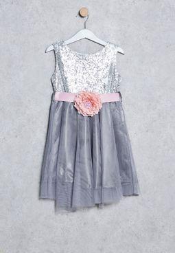 Kids Sequin Floral Belt Dress