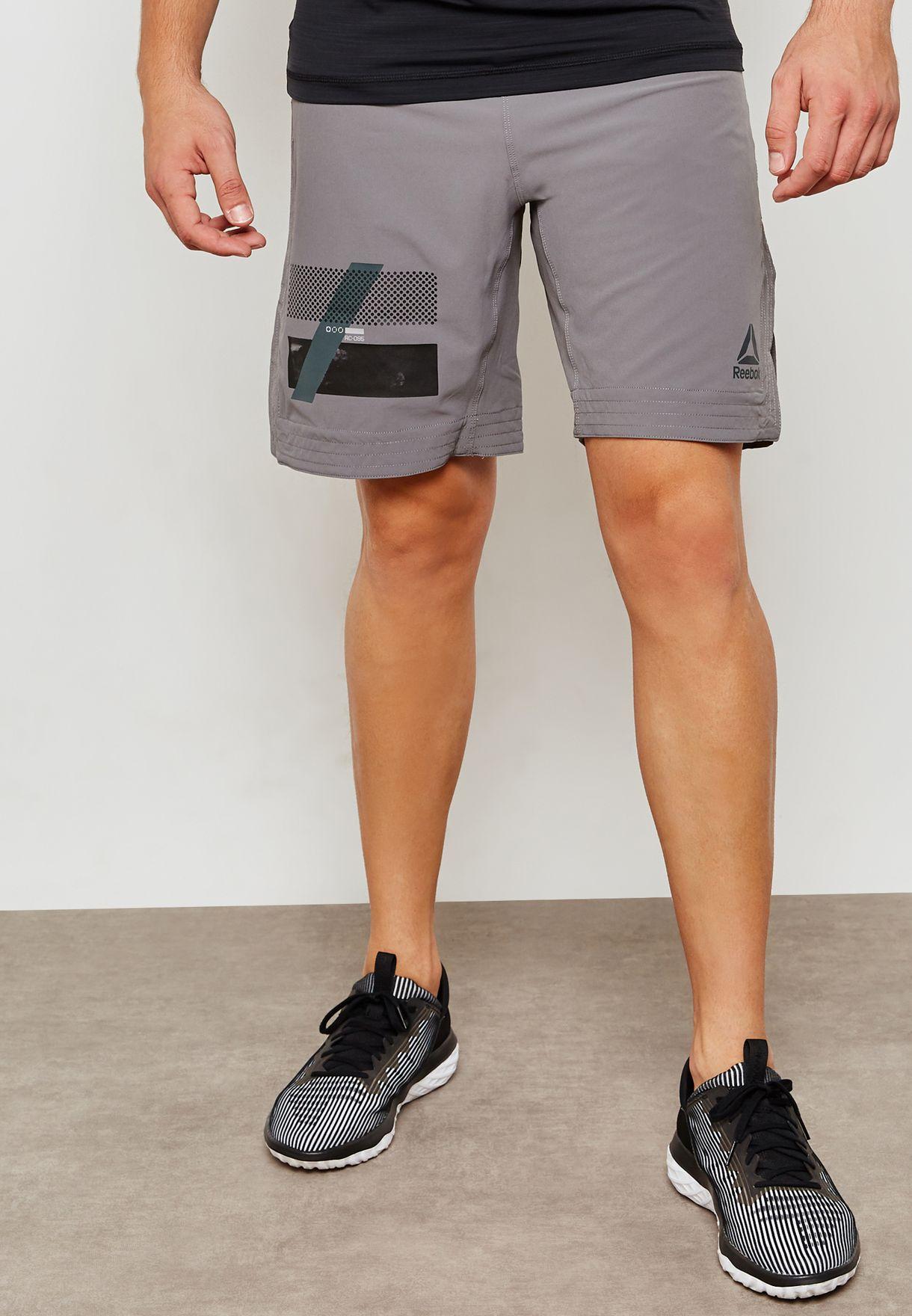 278cd16bd4fb7b Shop Reebok grey Combat Boxing Shorts D96005 for Men in Qatar - RE019AT92YPV