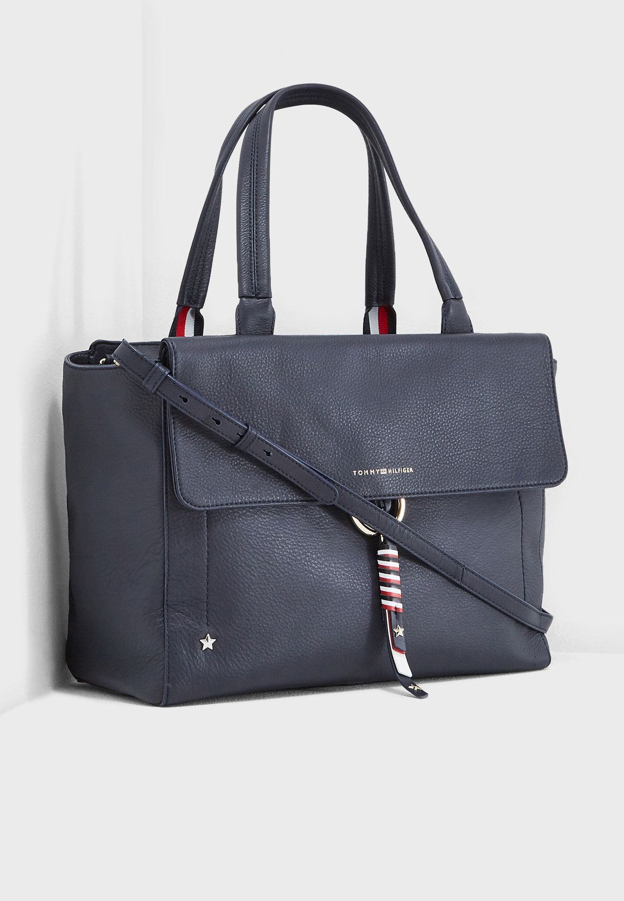 4c291282 Shop Tommy Hilfiger navy Heritage Satchel AW0AW05727 for Women in ...