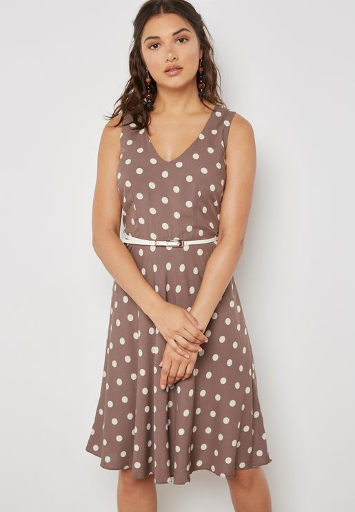 Polka Dot Belted Skater Dress