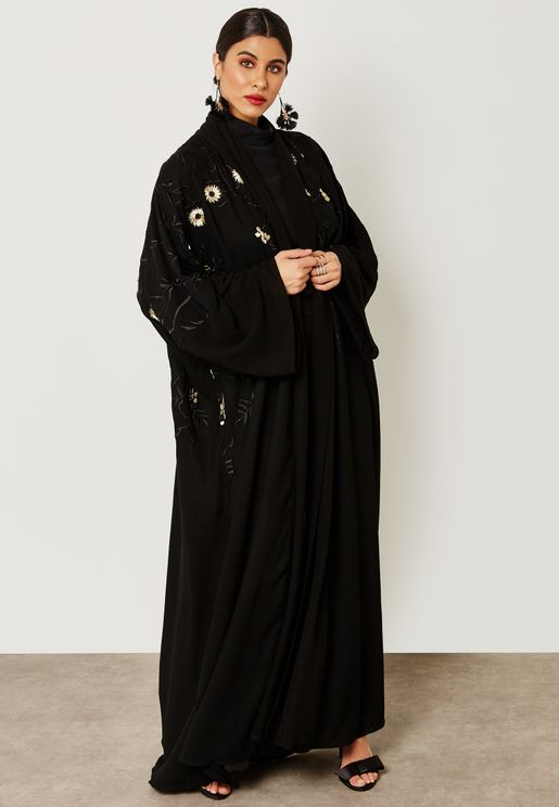 Shawl Look Embroidered Top Abaya