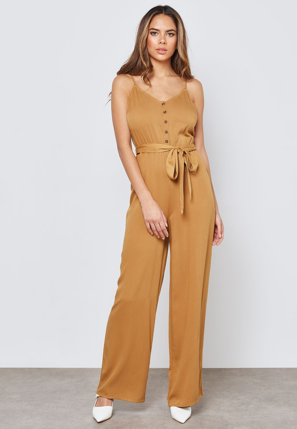 c97ee9385ba Shop Forever 21 browns Button Front Cami Jumpsuit 297079 for Women ...