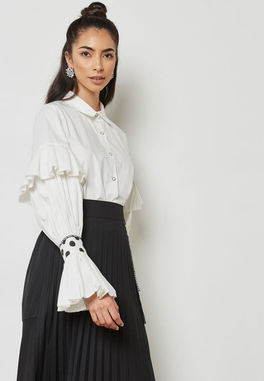 Ruffle Detail Sleeve Top