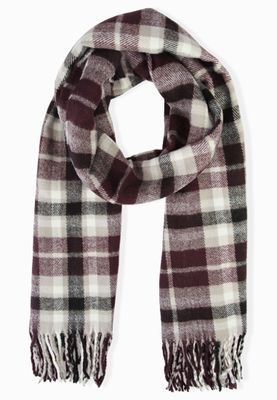 Miss Selfridge Check Fringed Scarf