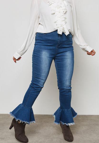 High Waist Ruffle Ankle Jeans
