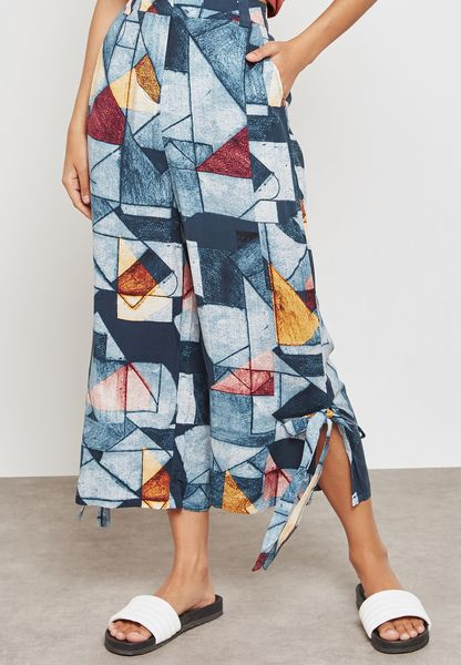 Side Tie Printed Culottes