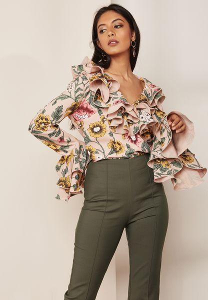 Floral Print Ruffle Detail Top