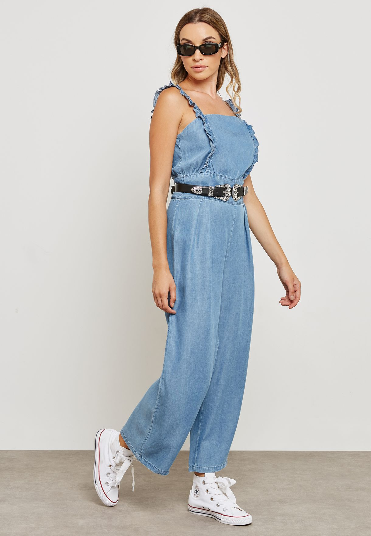 e9e8fae95074 Shop Only blue Frill Sleeve Denim Jumpsuit 15154191 for Women in Bahrain -  ON544AT92EFB