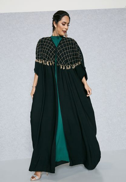 Embellished Yoke Cape Abaya