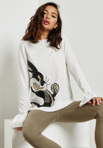 Sequin Bunny Flute Sleeve Sweater