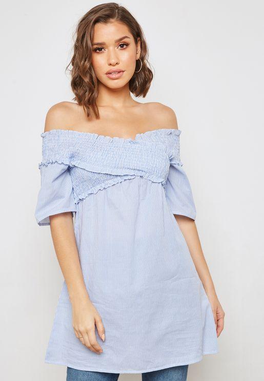 Striped Shirred Longline Bardot Top