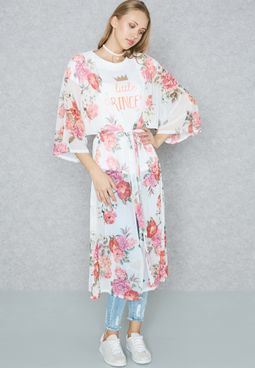 Floral Print Mesh Longline Kimono