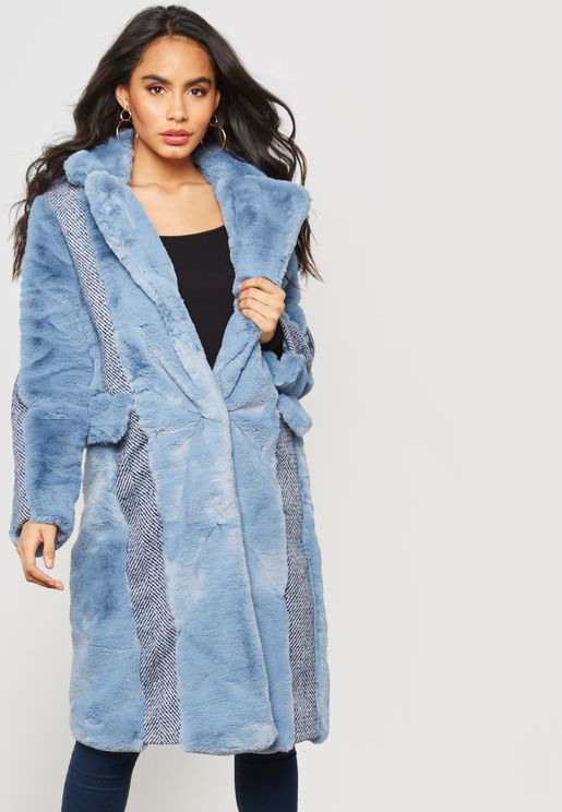 Faux Fur Panel Herringbone Coat