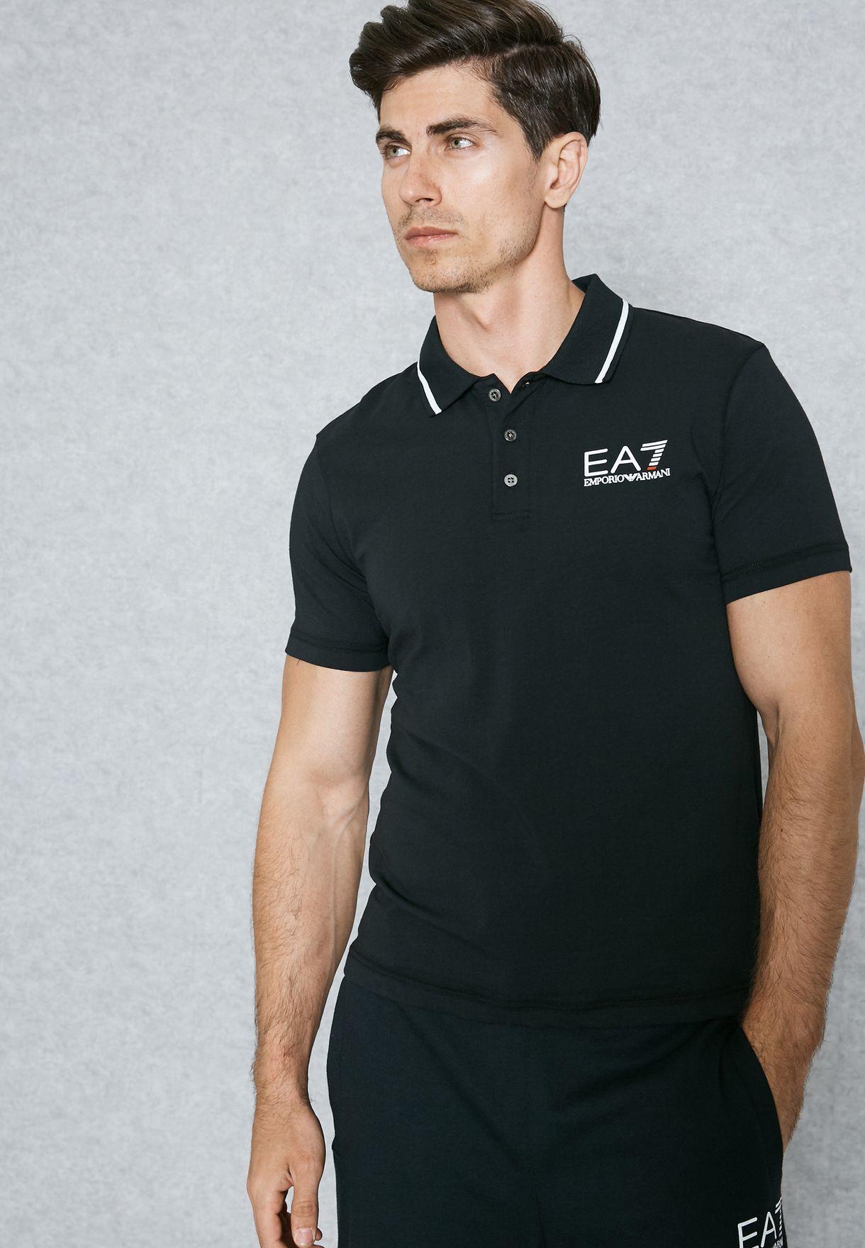 25f057978cda Shop Ea7 Emporio Armani black Core Polo PJ03Z-3YPF51-1200 for Men in ...