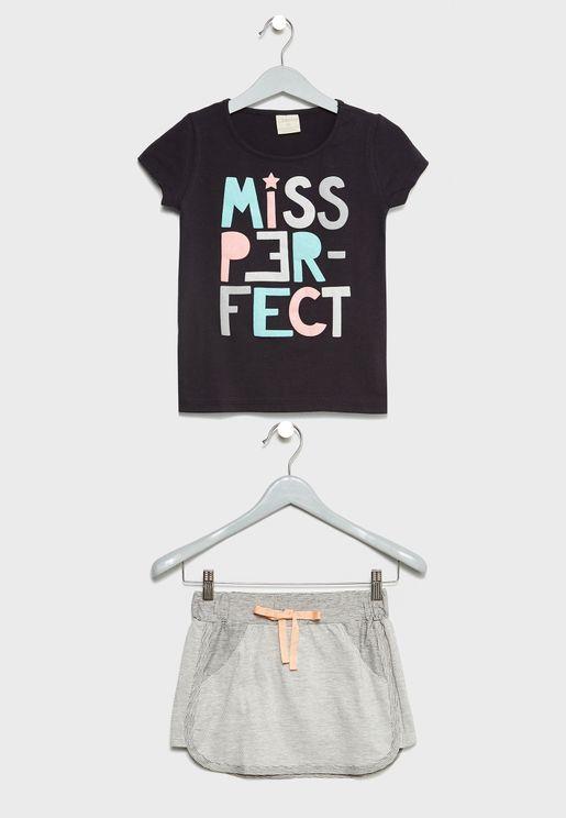 Little Slogan Top + Skirt Set
