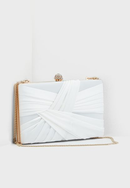 Nina Satin Pleat Clutch