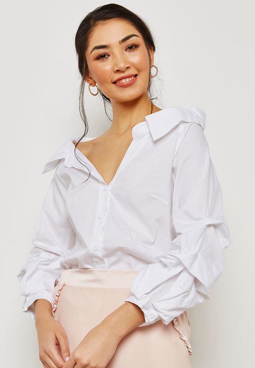 Puffed Sleeve Off Shoulder Shirt