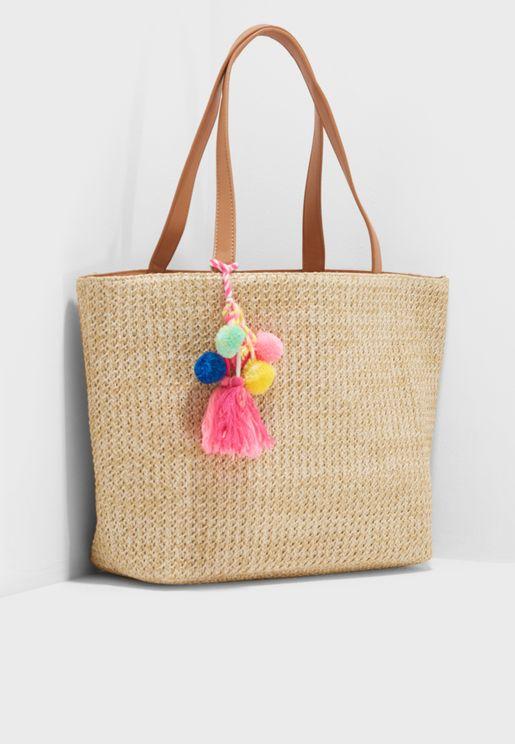 Tassel Straw Tote Bag