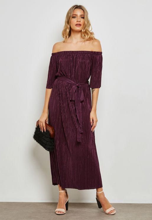 Pleated Bardot Self Tie Maxi Dress
