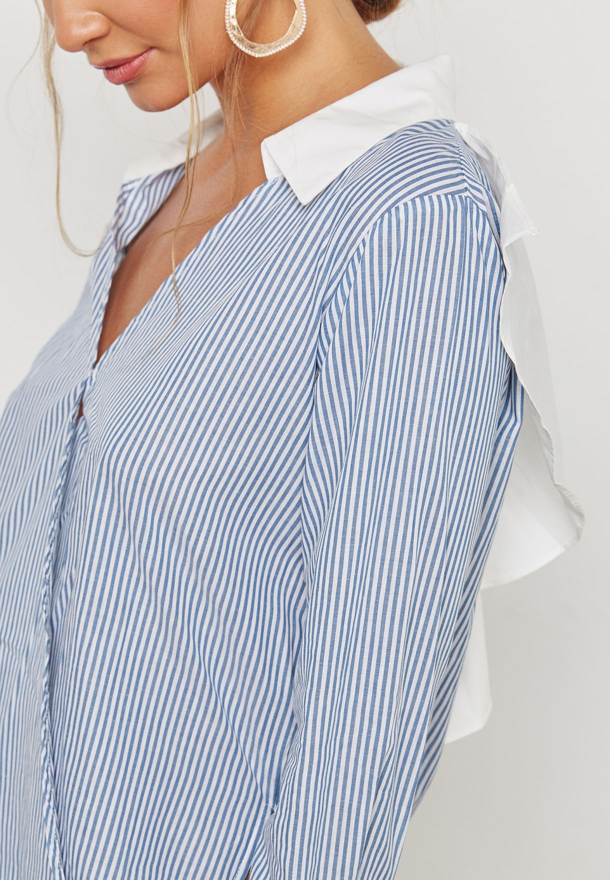 High Neck Ruffle Back Top