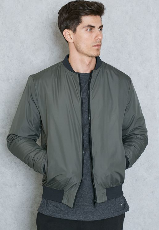 Ribbed Hem Bomber Jacket
