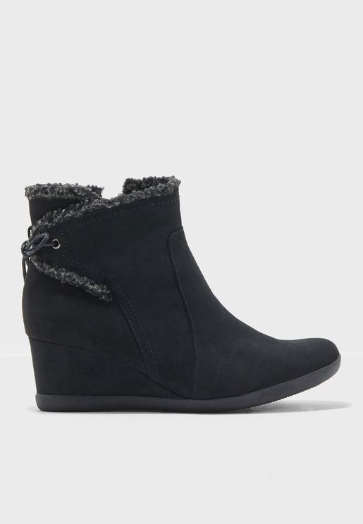 Borg Trim Wedge Ankle Boots