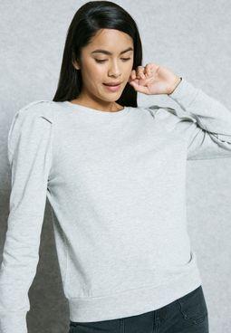 Ruched Shoulder Sweatshirt