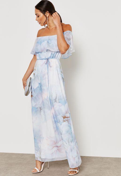 Tropical Print Bardot Maxi Dress