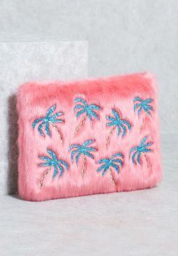 Palm Fur Clutch
