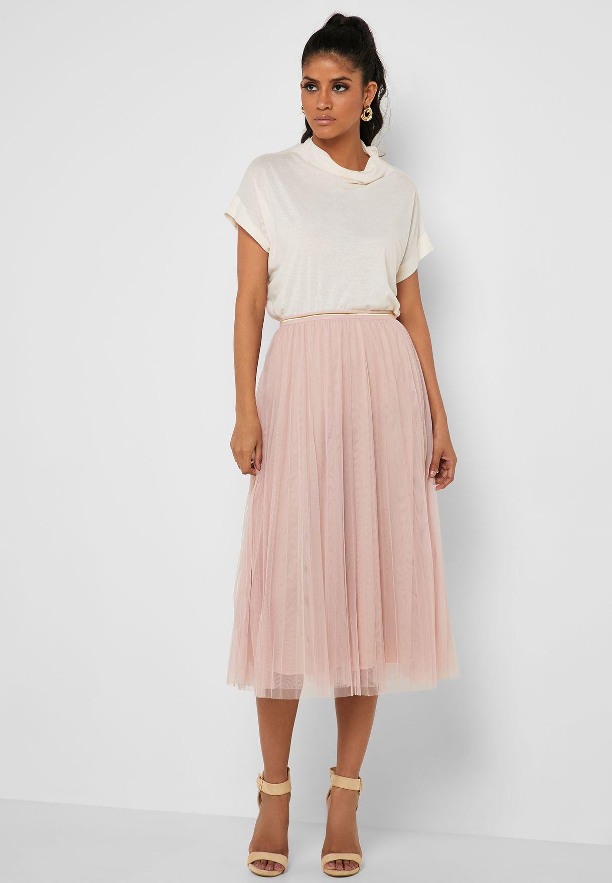 Tulle Mesh Overlay Midi Skirt