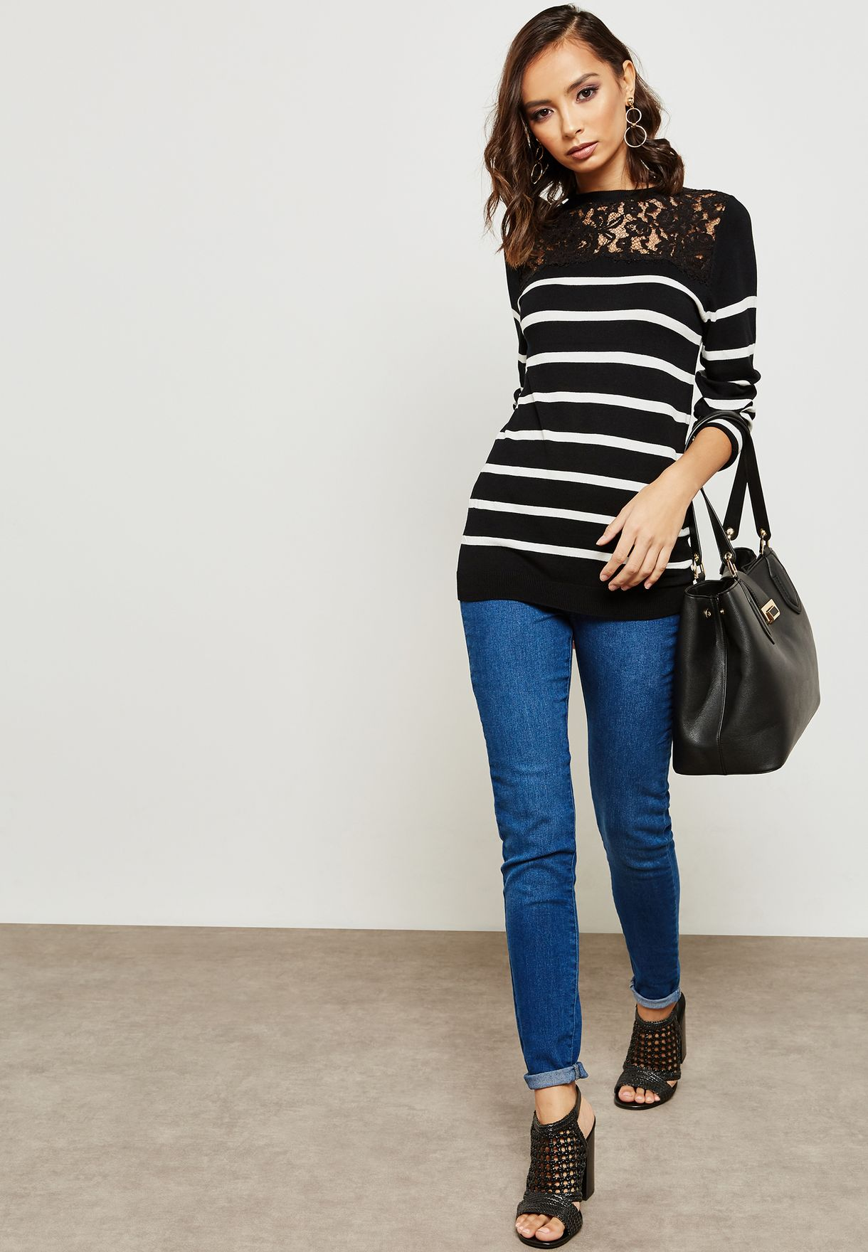 Lace Detail Striped Sweater