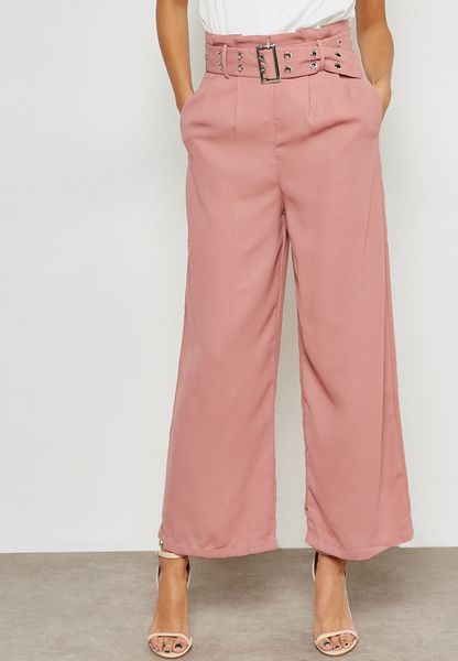 Eyelet Belted High Waisted Pants