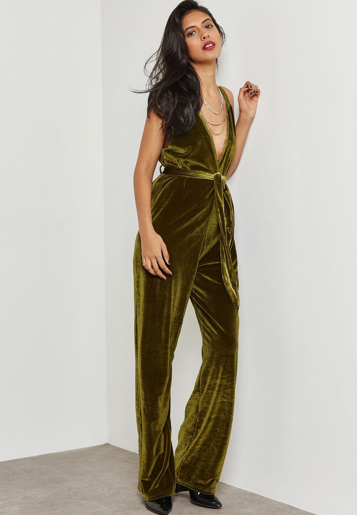 a94fdcfcc7d Shop Wyldr green Plunge Velvet Jumpsuit WALK AWAY for Women in UAE ...