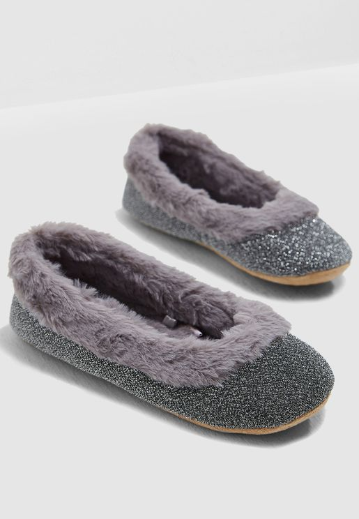 Grey Fur Trim Ballerina